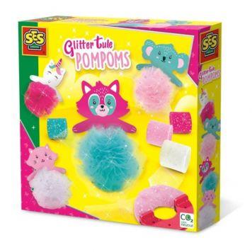 Ses Glitter Tule Pompoms
