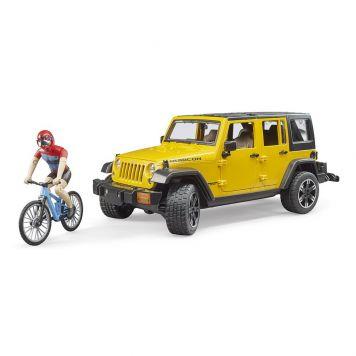 Bruder Auto Jeep Geel Met Mountainbiker