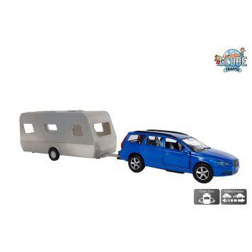 Auto Volvo V70 Met Caravan Dethleffs  Diecast Pullback 30cm