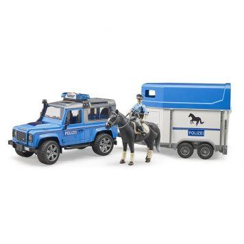 Bruder Auto Jeep Politie  Met Paardentrailer Met Paard