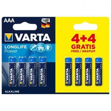 Batterij Varta AAA 4+4 Alkaline Longlife Power