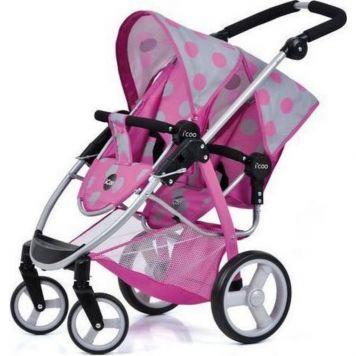 Hauck Icoo Duett Poppenwagen Dott Pink/Grey