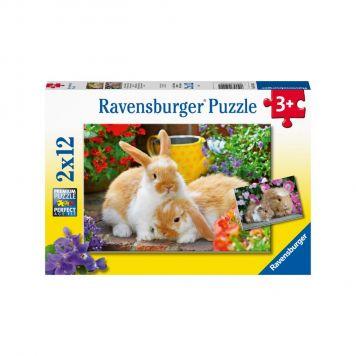 Puzzel Knuffeltijd Konijn & Cavia 2x12 stukjes