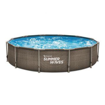 Summer Waves Zwembad Active Frame 366 X 76 cm Dark Double Rattan + filterpomp