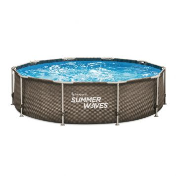 Summer Waves Zwembad Active Frame 305 X 76 cm Dark Double Rattan + filterpomp